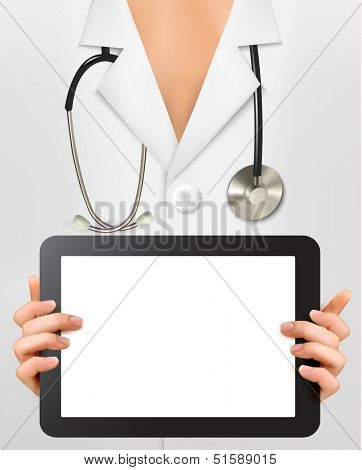 Doctor with stethoscope holding blank digital tablet. Vector illustration.
