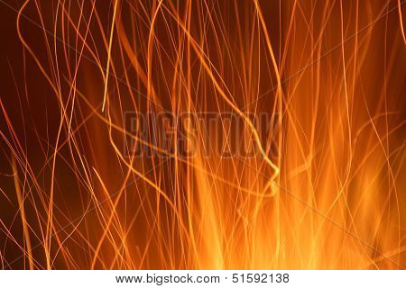 Sparks From A Fire Light Trail