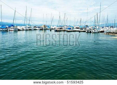 Yachts at Ouchy port marina, Lake Geneva, Lausanne, Switzerland