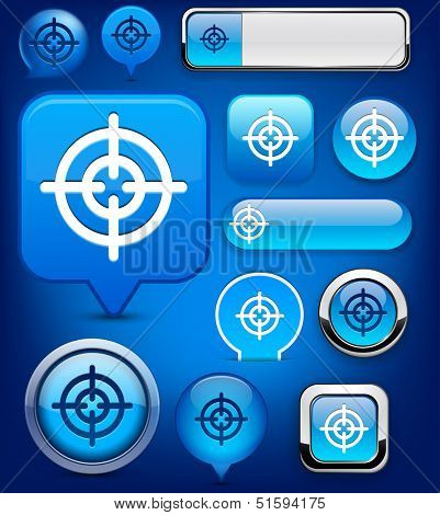 Hindsight web blue buttons for website or app. Vector eps10.