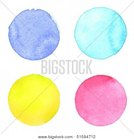 Watercolor circles collection. Watercolor stains set isolated on white background. Watercolor palette of yellow, blue, aquamarine and pink-red paint