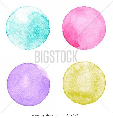 Watercolor circles collection. Watercolor stains set isolated on white background. Watercolor palette of aquamarine, pink, purple and yellow ocher paint