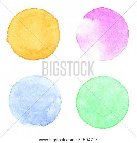 Watercolor circles collection. Watercolor stains set isolated on white background. Watercolor palette of dark yellow ocher, pink, aquamarine and green paint