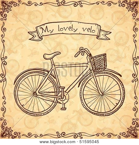 Vintage bicycle hand drawn vector card
