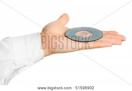 Businessman hand, holding cd isolated