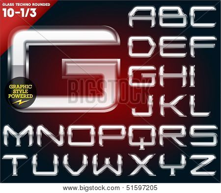 Vector illustration of Glass font powered graphic styles. Set 10-1