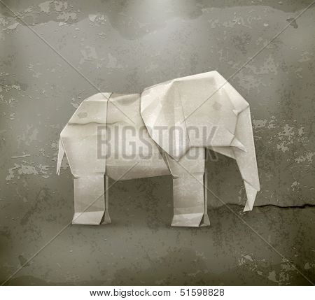 Origami elephant, old style vector