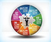 picture of breakdown  - Design template of a colorful business wheel chart with seven segments or components and a central figure of a businessman - JPG