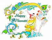 pic of navratri  - illustration of couple playing dandiya on Navratri - JPG
