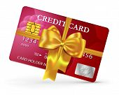 Credit Or Debit Card Design With Yellow Ribbon And Bow