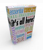A product box or package with the words It's All Here and related phrases essential, complete, all-i