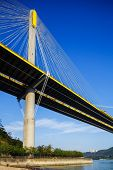 image of hong kong bridge  - Ting Kau suspension bridge in Hong Kong - JPG