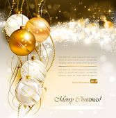 stock photo of christmas eve  - bright Christmas background with gold and white evening balls - JPG
