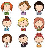 stock photo of avatar  - Doodle set with different smart female avatars - JPG