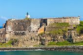 stock photo of el morro castle  - El Morro castle on the tip of San Juan Puerto Rico - JPG