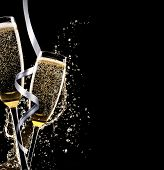 image of champagne glasses  - Glasses of champagne with splash - JPG