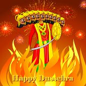 pic of navratri  - vector illustration of Ravana burning in Dussehre - JPG