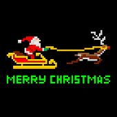 pic of arcade  - Retro arcade video game style pixel art Christmas Santa Claus in sleigh with Merry Xmas message - JPG
