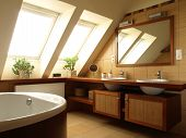 picture of mirror  - Interior of modern bathroom with huge mirror - JPG