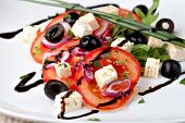 stock photo of vinegar  - vegetable salad with feta cheese - JPG