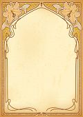 picture of calla  - Art nouveau frame with space for text on old paper - JPG
