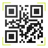 Black and white QR code with green reader frame vector illustration.