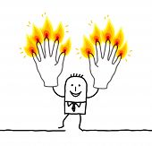 man with ten burning fingers