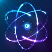 foto of atom  - Shining atom blue neon lights vector scheme - JPG