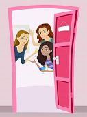 stock photo of pre-adolescent girl  - Illustration of a Group of Teenage Girls Having a Welcome Party - JPG