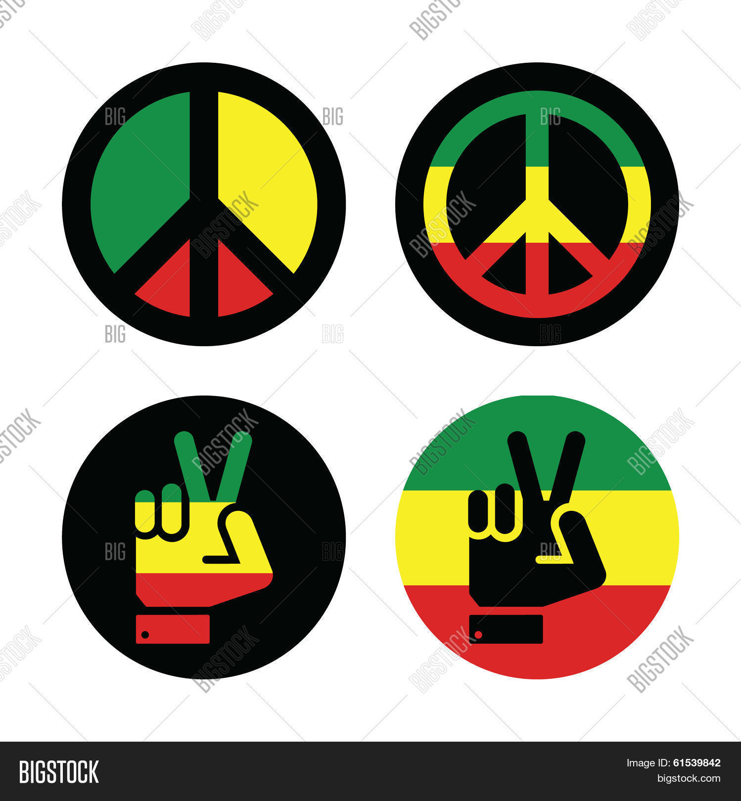 Rasta peace hand gesture vector vector photo bigstock rasta peace hand gesture vector icons set biocorpaavc Image collections
