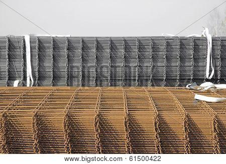 Steel reinforcement bars, outside storage
