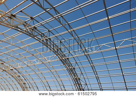 modern frame work of metal construction carcass roof support of building