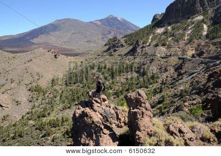 Hiker In Teide National Park, Tenerife Spain