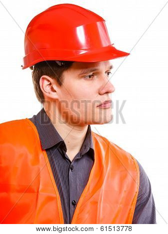 Man Worker In Safety Vest And Hard Hat. Safety In Work.