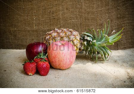 Strawberries Apple And Pine Apple