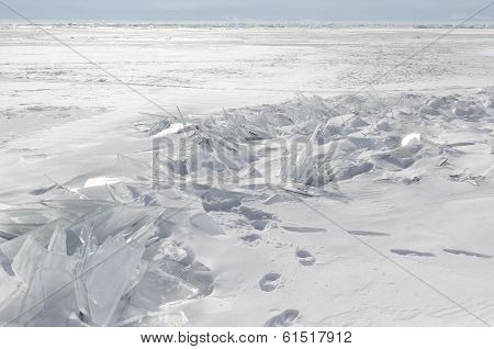Frozen Lake Baikal. The ice hummocks