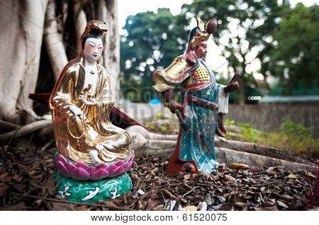 Statues Of Popular Chinese Gods Guanyin And Guan Yu, Hong Kong