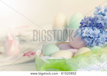Colorful Easter eggs and flower
