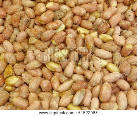 dried salted groundnuts (peanuts) closeup