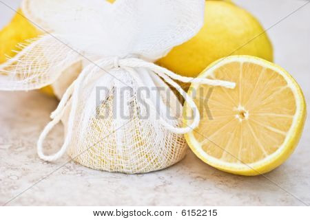 Lemons Tied In Cheesecloth