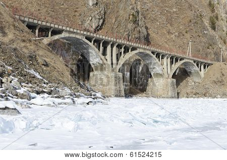 Viaduct on the section of Circum-Baikal Railway Old Angasolka village