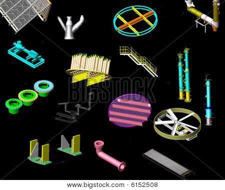 3D Render Of Machineries