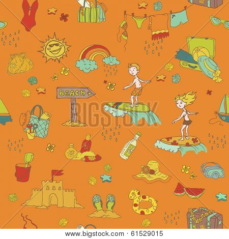 Seamless Summer Holiday Background - for design and scrapbook -  hand drawn in vector