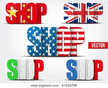 Set of Shopping symbol with flags of country.