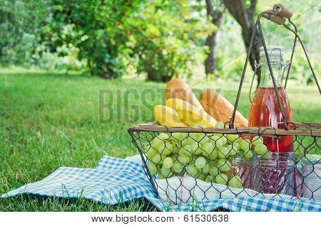 Vintage Picnic Basket With Fruit