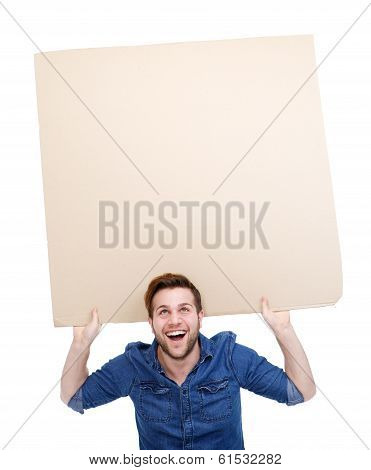 Man Holding Up Blank Poster Sign