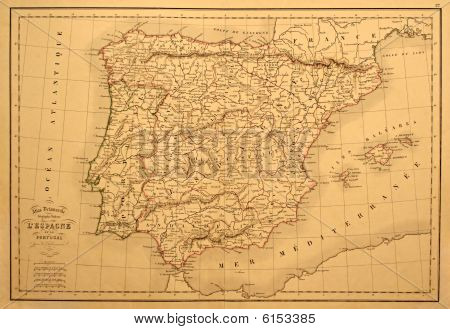 Old Map Of Spain And Portugal.