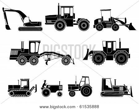 Set Of Icon Heavy Machines In Black And White Style.