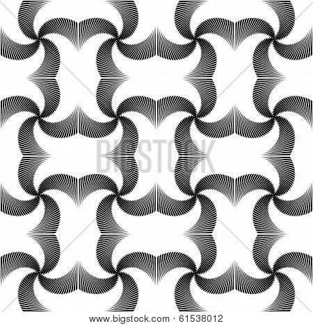 Design Seamless Uncolored Twirl Movement Pattern. Abstract Waving Lines Textured Background