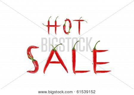 Picture Of The Word Hot Sale Written With Red Chili Peppers